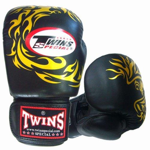 Twins ボクシンググローブ 本革製 フェニックス 黒  16oz