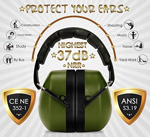 FRiEQ 37 dB NRR Sound Technology Safety Ear Muffs with LRPu Foam for Shooting, Music & Yard Work, Green by FRiEQ (Image #2)