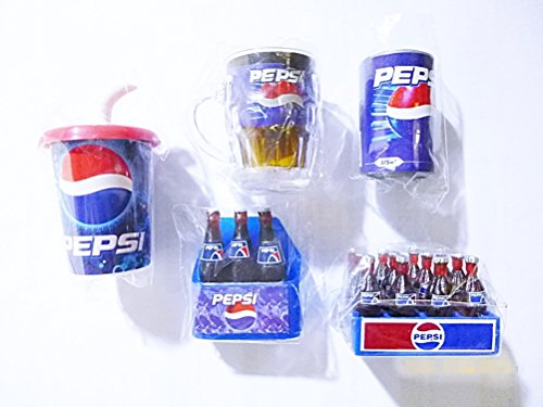 (Pepsi Miniature Magnet Fridge Dollhouse Collectibles 5 Pcs/set Pepsi Can Cup Crate Bottle Pepsi Fridge)
