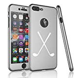 For Apple iPhone 360° Full Body Thin Slim Hard Case Cover + Tempered Glass Screen Protector Crossed Golf Clubs