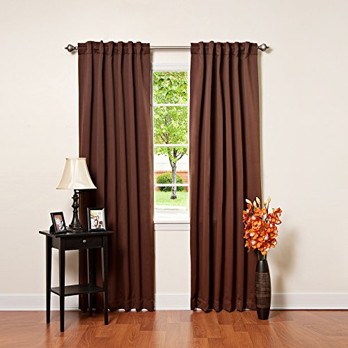 Best Home Fashion Thermal Insulated Blackout Curtains - Back Tab/ Rod Pocket - Chocolate - 52