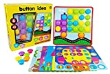 Aimeio Button Art Color Matching Mosaic Pegboard Toy Puzzle Game Preschool Learing Educational Toy for Boys and Gils Color&Geometry Shape Cognition Skill