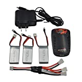 Blomiky 3 Pack 7.4V 350mAh 25C 2.59Wh Battery and Charger for JXD 515W 515V SJ515 RC Quadcopter Drone Toy 515W Battery 3