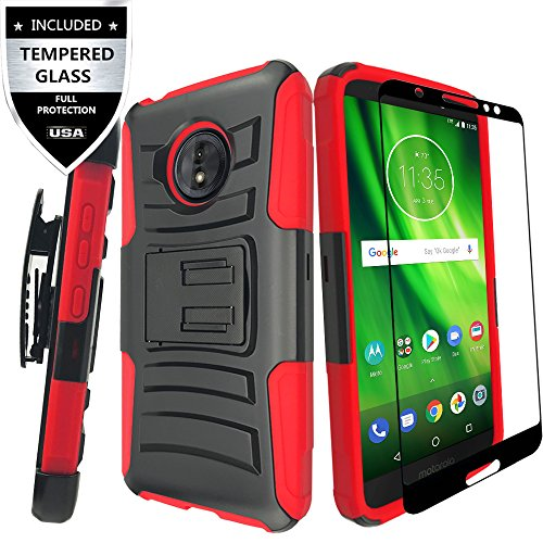 Moto E5 Play Case/Moto E5 Cruise Case with Tempered Glass Screen Protector,IDEA LINE Heavy Duty Armor Shock Proof Dual Layer Combo Holster Kickstand Belt Clip for Motorola Moto E Play 5th Gen - Red