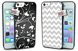 Flowers Black and White Chevron Gray COMBO TWO PACK for iPhone 5c