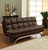 Best Furniture of America Amazon sofa bed - Mussina Contemporary Style Chocolate Leatherette Finish Sofa Futon Review