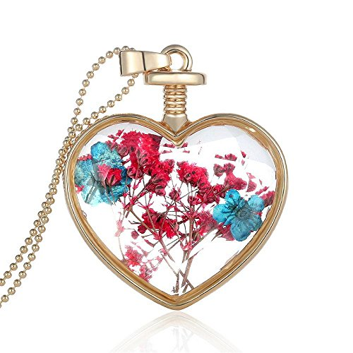 Fashewelry Fashion Heart Floating Pendant Necklaces Dried Flower Plant Charm Chain Necklace Romantic Crystal Glass Jewelry for Women (Gorgeous Glass Strand Necklace)