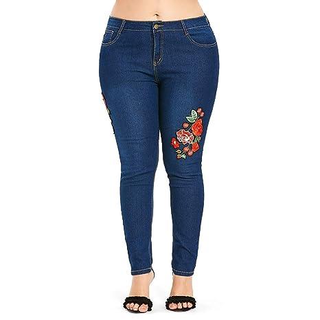 Pantalones de mujer Tallas grandes Jeans flor de cintura ...