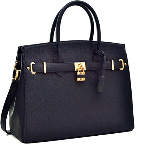 MMK collection Fashion Packlock Handbag for Women` Signature fashion Designer Purse ` Designer Perfect Women Satchel Purse ~ Beautiful Designer Purse & Women Satchel Purse (031006 black)