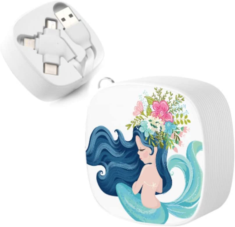 Charger USB Cable Happy Little Mermaid Girl Multi 3 in 1 Retractable USB Charger Cable Fast Charge with Micro USB//Type C Compatible with Cell Phones Tablets and More