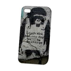 Case Fun Apple iPhone 4 / 4S Case - Vogue Version - 3D Full Wrap - Graffiti Laugh Now Monkey