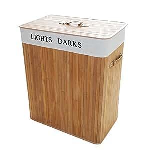 Folding bamboo laundry hamper basket cloth storge basket with lid and removable - Laundry basket lights darks colours ...
