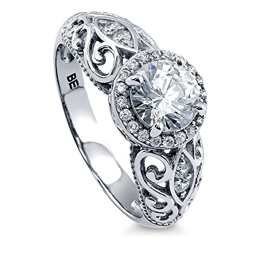 BERRICLE Rhodium Plated Sterling Silver Round Cubic Zirconia CZ Art Deco Halo Milgrain Engagement Ring 1.18 CTW Size 8 Art Deco Engagement Ring Settings