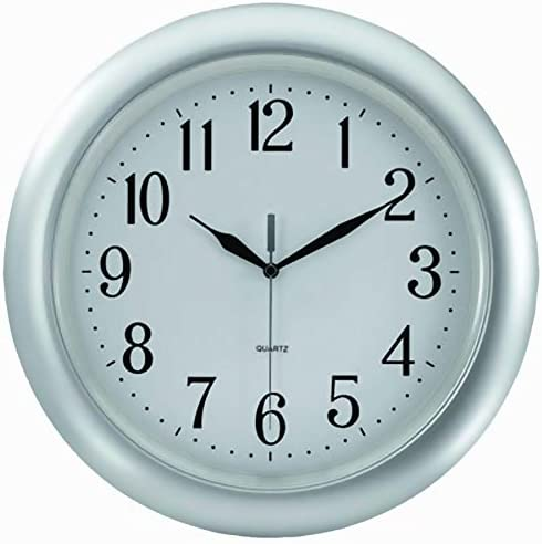 Tempus TC6083S Atomic Wall Clock with Frame Translucent Dial Face and Radio-Controlled Movement, 14 , Silver