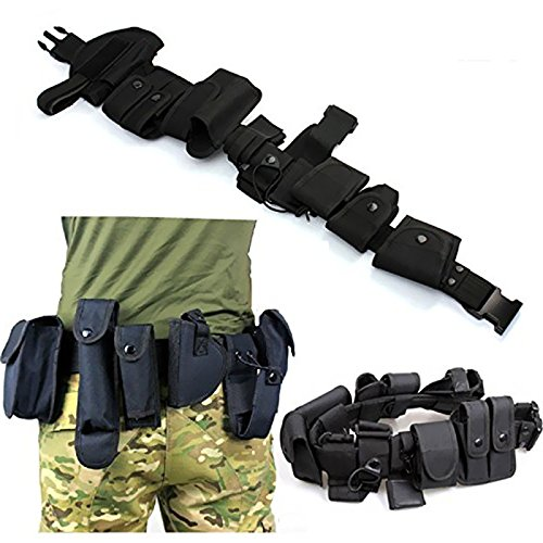 FIRECLUB 10 Pieces Parts All in One Set Military Tactical Waist Belt Equipment Gun Holster Flashlight Police Security Guard SWAT Utility Kit Law Enforcement Modular Design Waterproof Nylon Black (Police Flashlight Equipment)