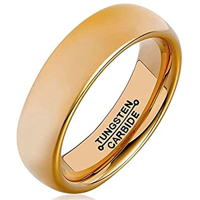 Bishilin 6MM Stainless Steel Gold Plated Classic Wedding Band Promise Rings