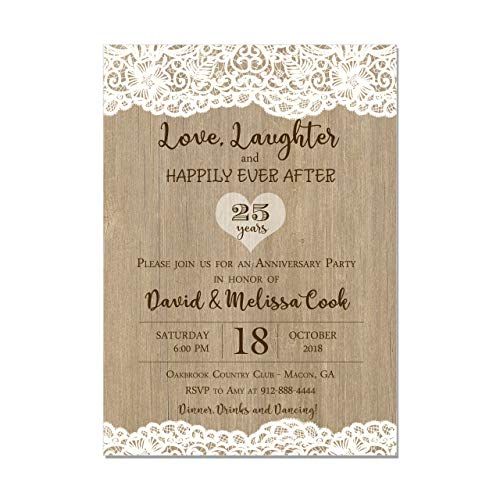 Anniversary Party Invitation, Lace and Wood, Love and Laughter and Happily Ever After, Base price is for a Set of 10 Invitations with white envelopes