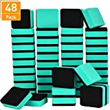 Blulu 48 Pieces Mini Magnetic Whiteboard Erasers Dry Erase Erasers Chalkboard Erasers for Home Classroom Office Use (Green, 1.97 x 1.97 Inches)