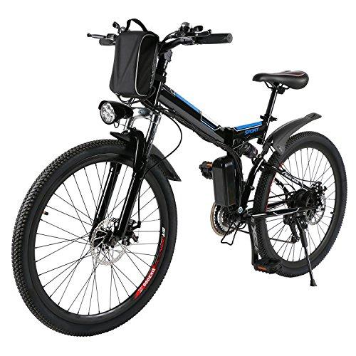 🥇 AMDirect Bicicleta de Montaña Eléctrica Bici Plegable Ebike con Rueda de 26 Pulgadas Batería de Litio de Gran Capacidad 36V 250W 21 Velocidades Suspensión Completa Premium y Engranaje Shimano