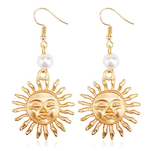 - Sterling Silver & Gold Plated 14k Emoji Smile Face Big Sun Charm With Pearl Women Dangle Earrings (Gold)