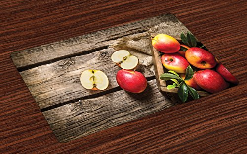 Lunarable Fruits Place Mats Set of 4, Box of Apples in on Wood Floor Penal Rusty Organic Nutrition Vitamin Harvesting, Washable Fabric Placemats for Dining Table, Standard Size, Brown Red