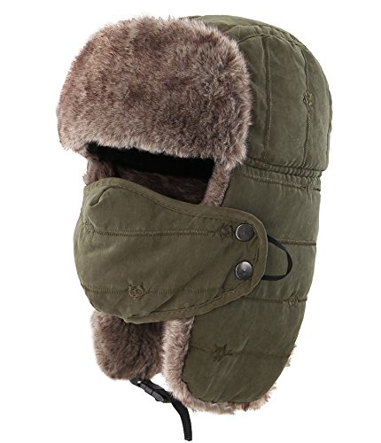 (Connectyle Outdoor Trooper Trapper Hat Warm Winter Hunting Hats with Ear Flaps Mask Ushanka Hat Army Green )
