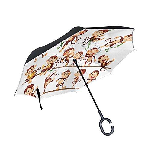 ALAZA Cartoon Monkey Inverted Umbrella, Large Double Layer Outdoor Rain Sun Car Reversible Umbrella