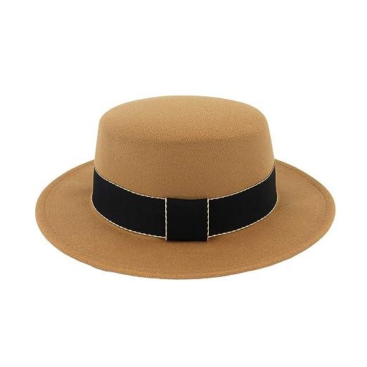 6117ecaff65c6 DDKK Mens Fedora Hats for Men - Fedora Hat Panama Hat Straw Hat Trilby Hat  Summer Hat-Wide Brim Wool Felt Flat (Beige) at Amazon Men s Clothing store