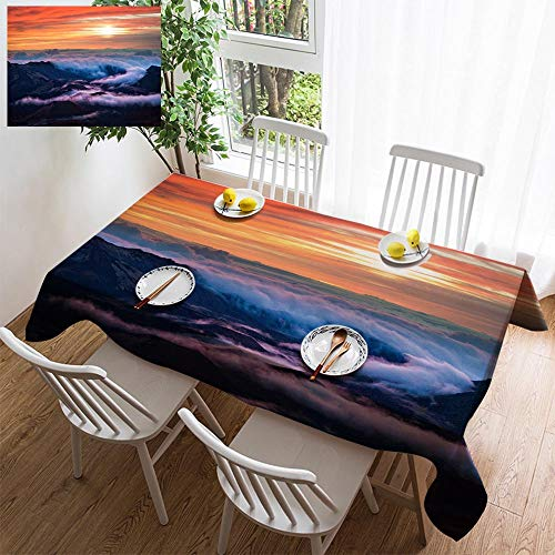 HOOMORE Simple Color Cotton Linen Tablecloth,Washable, Haleakala National Park Crater Sunrise in Maui Hawaii Decorating Restaurant - Kitchen School Coffee Shop Rectangular 54×35in