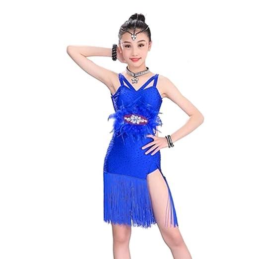 Ropa para niños YONGMEI Traje de Baile Latino - Falda Flecos ...