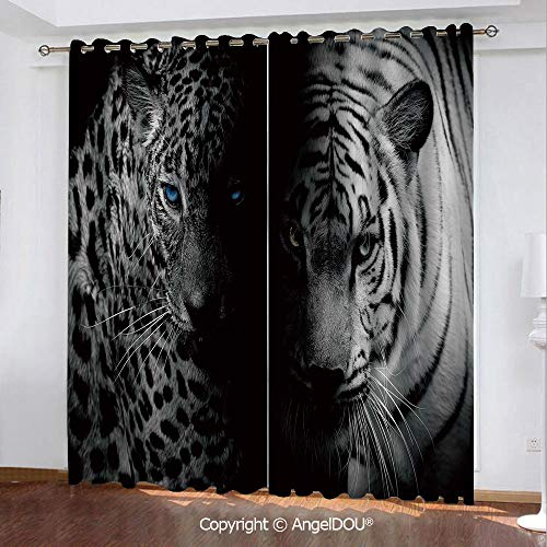 (SCOCICI Darkening Thermal Insulated Grommet Unlined Printed Window Curtains Leopards Blue Eyes Aggressive Powerful Wildcat Profile 2 Panel Set Window Drapes)