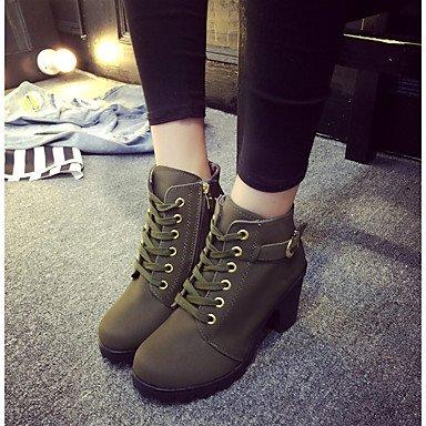 Marrón Casual redonda EU35 botas mujer CN34 US5 puntera botines de botines Negro Invierno Zapatos Moda Verde Pu botas Chunky talón RTRY de UK3 wPTZgxqR4W