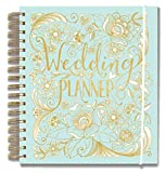Rachel Ellen Designs Hard Cover 9' Wedding Planner & Organizer, Checklists, Gold Foil Details, Journal Notebook
