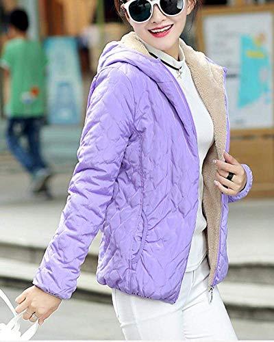 Violett Acolchada Con Grueso Outerwear Mujeres Casuales Fashion Fit Manga Larga Mujer Chaqueta Slim Bolsillos Terciopelo Sólidos Capa Elegantes Capucha Otoño Casual Colores Invierno TCBdYYwq