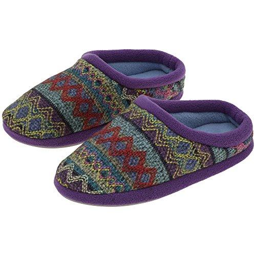 GreaterGood Northern Lights Knit Slippers Purple pNC6j4rK7w