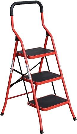 Wenhui Escalera portátil de 3 escalones con Plataforma de Capacidad de 330 LB Taburete Plegable de Hierro de pasamanos Corto Ligero (Color : Red): Amazon.es: Hogar