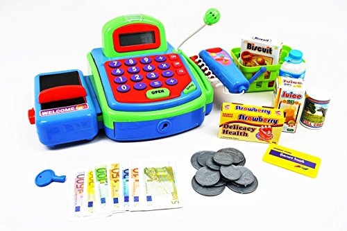Pretend Play Electronic Cash Register Toy Realistic Actions & Sounds (Green) by KidFun Products