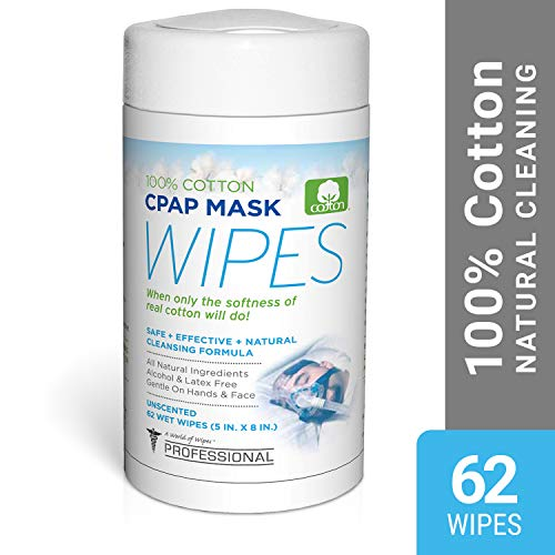 AWOW Professional Unscented Cotton CPAP Mask Cleaning Wipes, 62 Wipes, Natural Formula (Strap Opus)