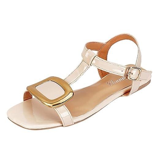 ae05df15671d6 Amazon.com: Boomboom Women Summer Flat Belt Buckle Sandals Casual ...