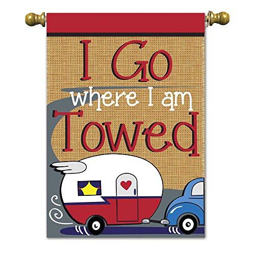 Magnolia 01899 Camper I Go Where I Am Towed Burlap Garden Flag, 13″ x 18″ For Sale