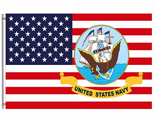 Flag Eagle Polyester - Wamika US Navy Flag 4x6 FT Brass Grommets USA Naval Military Polyester Flags Breeze Double Stitched Patriotic Eagle US American Flag Banner Garden House Indoor Outdoor Holiday Home Decor