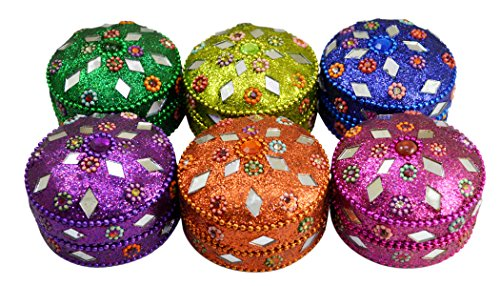 - Amazing India Online A Set of 6pcs Traditional Ethnic Glitter Mirror Work Beaded Jewelry Boxes Lac Item Multi 2 inches