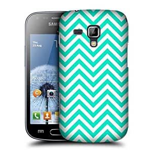 AIYAYA Samsung Case Designs Teal Neon Chevron Protective Snap-on Hard Back Case Cover for Samsung Galaxy S Duos S7562 S7560