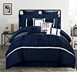 Chic Home CS2767-AN Ashville 16 Piece Comforter Set, Blue, Queen