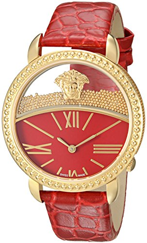 Versace-Womens-KRIOS-Swiss-Quartz-Stainless-Steel-and-Leather-Casual-Watch-ColorRed-Model-VAS040016