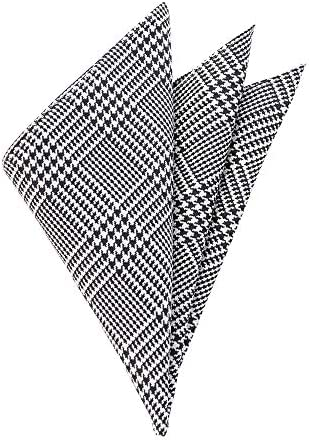 (ザ・スーツカンパニー) ハウンドトゥース柄 シルクポケットチーフ チャコールグレー×ホワイト