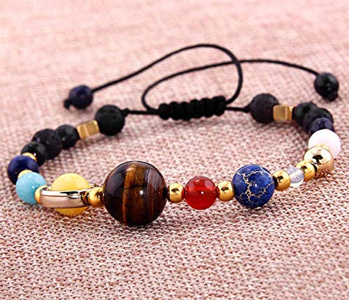 Galaxy Glass Stone - QIANQIAN QIANQIAN Creative Galaxy Solar System Eight Planets Beaded Braided Rubber Band Adjustable Natural Stone Bracelet and Anklet (Braided Rope)