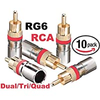 Emerson RG-6 Dual/Tri/Quad RCA Compression Connectors (10 Pack)