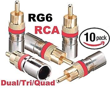Emerson RG-6/Tri/Quad doble RCA Conectores de compresión (10 unidades