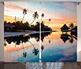 Tropical Decor Curtains Tropical Sunset at Moorea French Polynesia Reflection Resort Scenic Waterscape Living Room Bedroom Decor 2 Panel Set Yellow Coral Blue